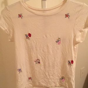 American eagle cream crop top w/ flower embroidery